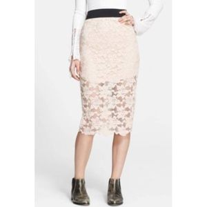 Free People Lace Pencil Skirt Size S Stretch J594